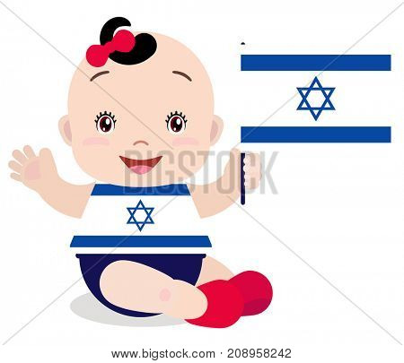 Smiling baby toddler, girl holding a Israeli flag isolated on white background. Cartoon mascot. Holiday illustration to the Day of the country, Independence Day, Flag Day.