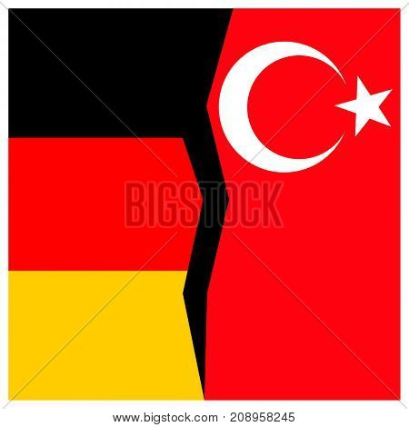 Germany and Turkey flags with a crack.