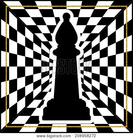 Chessboard with a chess piece Bishop and a gold frame. Traditional Christmas holiday game.