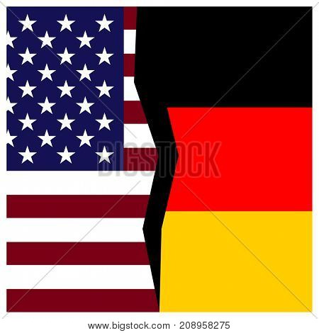 US and Germany flags with a crack.