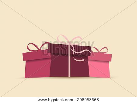 Vector illustration of gift. Colorful background with presents