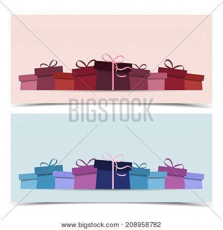 Vector illustration of gift. Two colorful background with presents