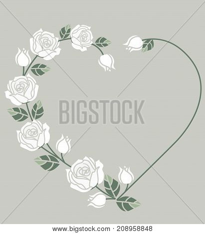 Vector illustration Decorative frame with white roses on white background. Heart of roses