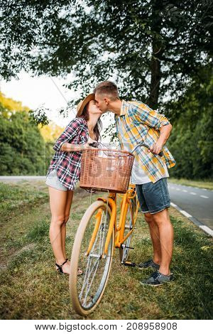 Young man and woman kissing on romantic date