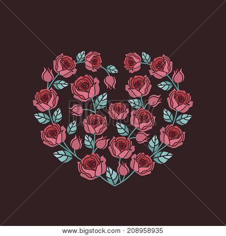 Vector illustration Decorative frame with red roses on white background. Heart of roses