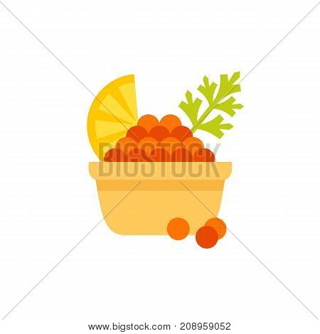 Vector icon of red caviar with lemon and dill. Delicatessen, restaurant, starter. Seafood concept. Can be used for topics like food, gourmet, fishery