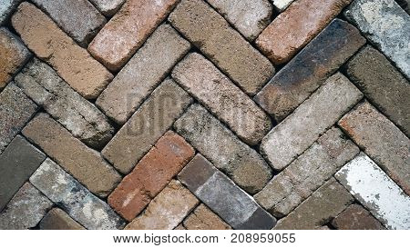 Background and Wallpaper of brick wall in a zigzag format