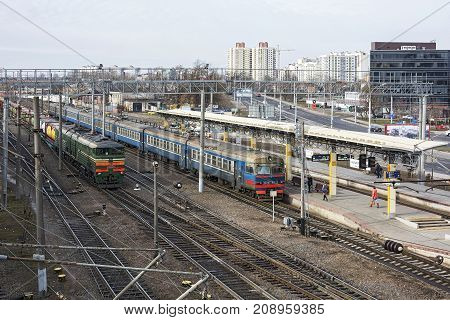 Belarus Minsk - 03/04/2017: Railway station. Suburban train and freight train