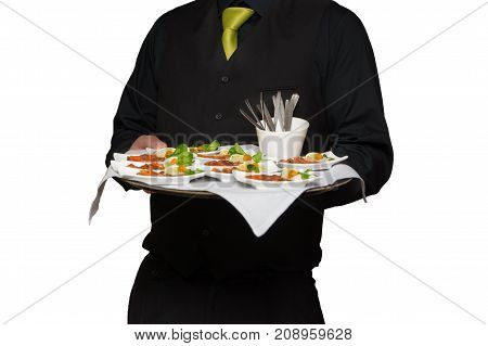 waiter wearing black costume and green tie serving food on tray isolated on white background