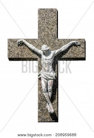 Marble sculpture of jesus christ isolated on white background