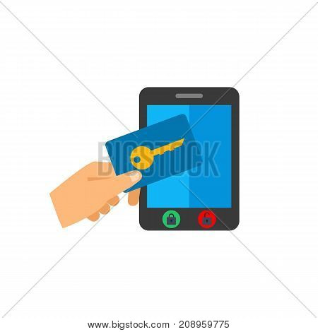 Vector icon of male hand holding key for touchpad. Password, system of protection, unlocking screen. Protection concept. Can be used for topics like technology, security, computers