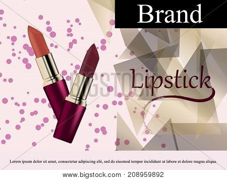 Glamorous Fashion lipstick ads elegant liquid flowing lipsticks for makeup isolated on scarlet pink background Cosmetics Package Product. Advertising Banner Poster Catalog. 3D Vector Illustration.