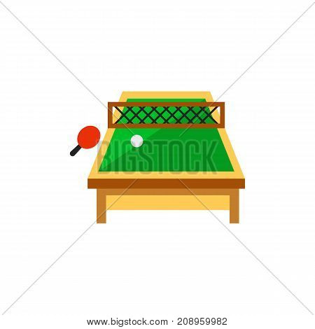 Vector icon of tennis table with racket and ball. Ping pong, leisure game, hobby. Table games concept. Can be used for topics like sport, leisure, pastime