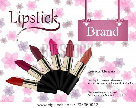 Elegant lipstick ads, glossy lipsticks with ribbons isolated on pink bokeh background, 3d illustration