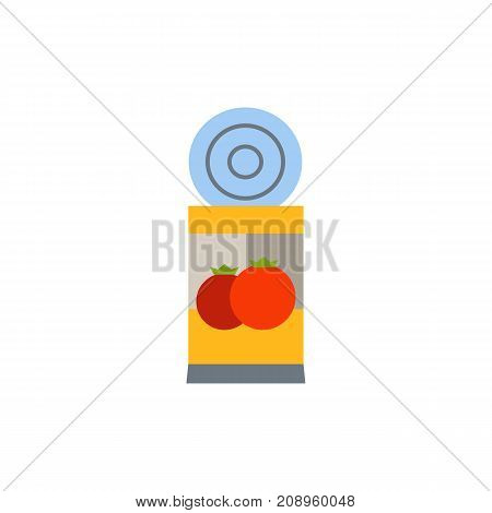Vector icon of tomato sauce can. Preserves, pickled tomatoes, tomato paste. Canned food concept. Can be used for topics like food, provisions, condiment