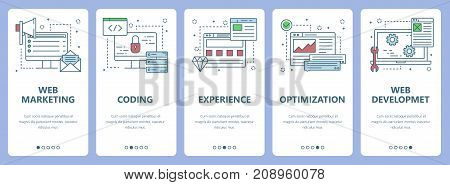 Vector set of vertical banners with Web marketing, Coding, Experience, Optimization, Web development concept web elements. Modern thin line flat symbols, icons for website menu, printing.
