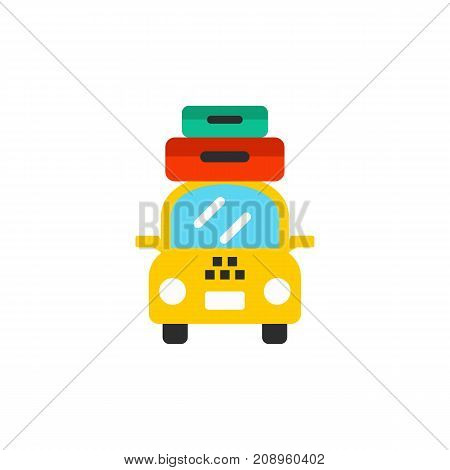 Vector icon of taxi with suitcases. Travel, trip, transport. Tour planning concept. Can be used for topics like tourism, vacation, service