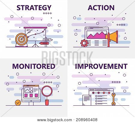 Vector set of action plan concept banners. Strategy, Action, Monitored and Improvement templates. Modern thin line flat symbols, icons for web, print.