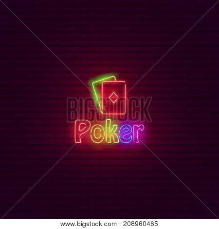 Poker neon sign. Vintage signboard Bright icon