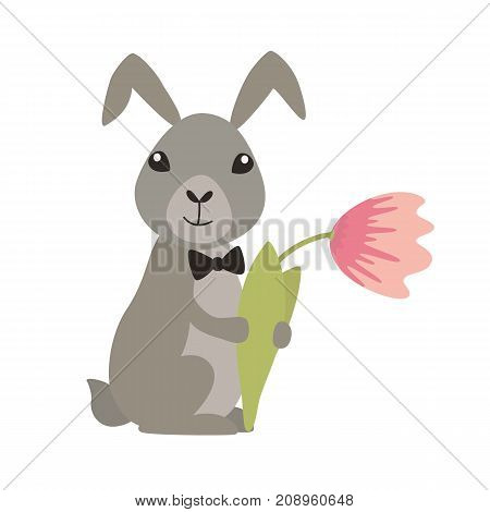 Cute rabbit with flower. Flat vector illustration isolated on white background