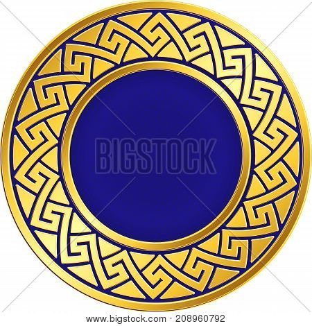 Golden round frame with traditional vintage Greek Meander pattern on the blue background for design template. Gold pattern for decorative tiles and plates