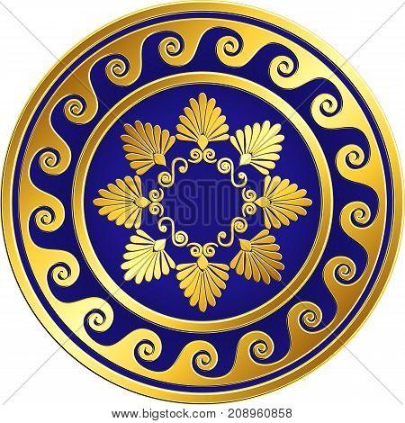 Traditional vintage Golden round Greek ornament, Meander and floral pattern on blue background . Gold pattern for decorative tiles, plates