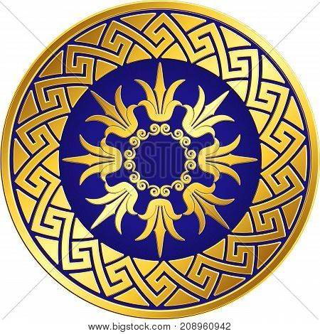 Traditional vintage Golden round Greek ornament, Meander and floral pattern on blue background . Gold pattern for decorative tiles, plates