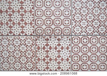 White and light purple ceramic tile texture. Seamless pattern with symmetric geometric ornament abstractly repeated.
