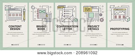 Vector set of design project concept banners. Content design, Brand book, Confirmation letter, Project details, Prototyping website templates. Modern thin line flat symbols, icons for web, print.