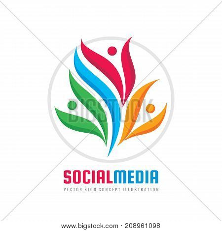 Teamwork vector logo template creative illustration. People group sign. Social media symbol. Friendship concept. Design elements
