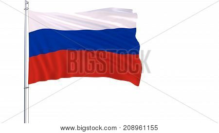 Flag of Russia on a flagpole fluttering in the wind on a white background 3d rendering