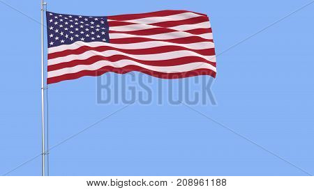 Flag of USA on a flagpole fluttering in the wind on a blue background 3d rendering