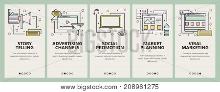 Vector set of digital marketing concept banners. Story telling, Advertising channels, Social promotions, Market planning, Viral marketing templates. Modern thin line flat symbols, icons for web, print