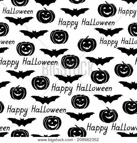 Happy Halloween seamless pattern. Holiday background with bat, pumpkin, lettering