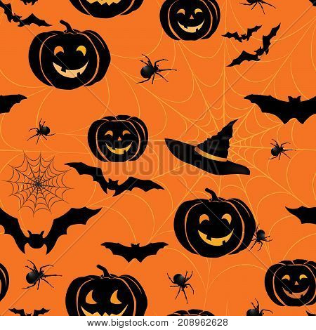 Happy Halloween seamless pattern. Holiday party background with bat pumpkin web spider