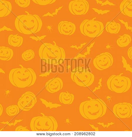Happy Halloween seamless pattern. Holiday party background with bat pumpkin spider