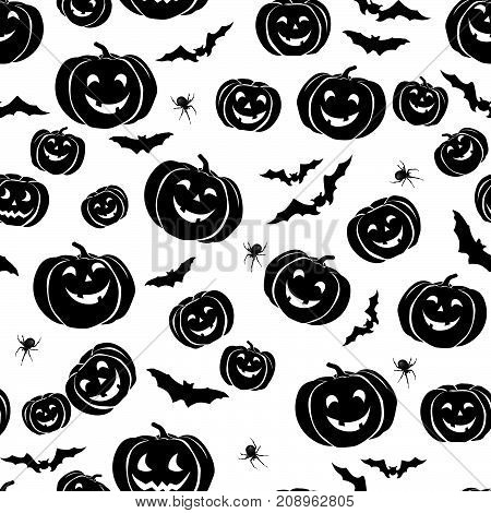 Happy Halloween seamless pattern. Holiday ornamental background with bat, pumpkin