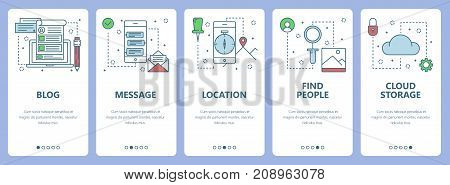 Vector set of social media concept vertical banners. Blog, Message, Location, Find people, Cloud storage web templates. Modern thin line flat symbols, icons for web, print.