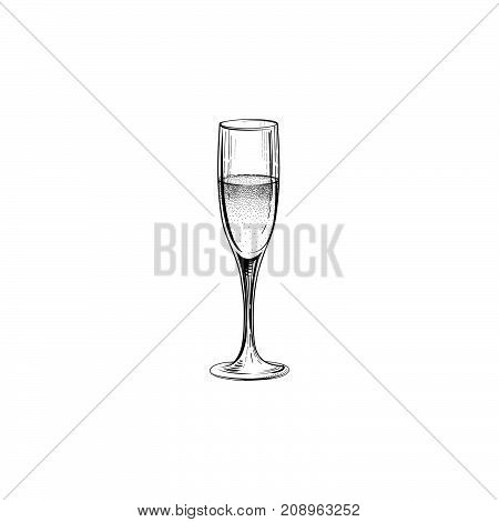 Drink champagne sign. Christmas party icon wine glass. Hand drawn holiday card design