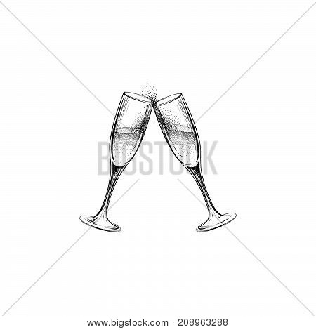 Drink Champagne Sign. Christmas Party Icon With Clinking Wine Glasses. Hand Drawn Holiday Card Desig