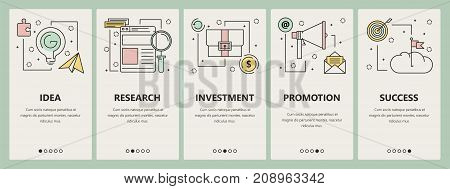 Vector set of startup concept vertical banners. Idea, Research, Investment, Promotion and Success web templates. Modern thin line flat symbols, icons for web, print.