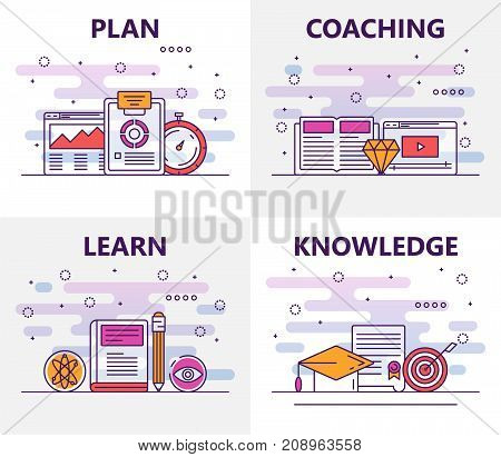 Vector set of training banners with Plan, Coaching, Learn, Knowledge concept templates. Modern thin line flat symbols, icons for web, print.