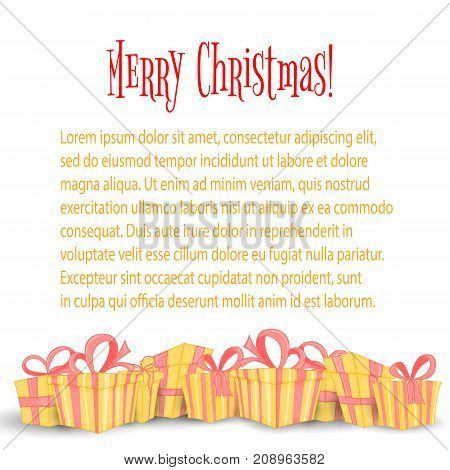 Card, the banner with Christmas gifts and bags of Santa Claus. Cute boxes for birthday and Valentine's day. Templates for text and greetings. Isolated on a white background