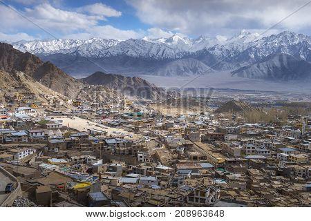 Beautiful Leh city on surround mountains background Ladakh India Tibet.