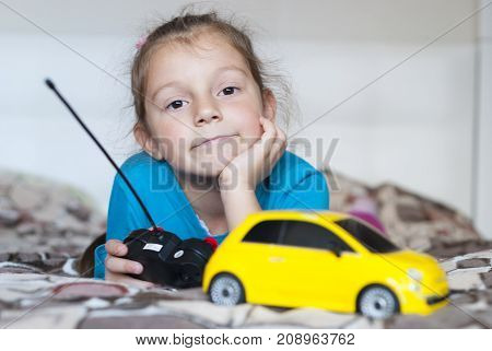 Beautiful Girl And Toy Car