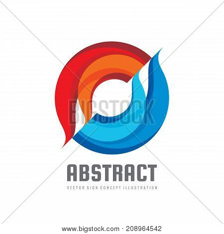 Alliance - vector logo template concept illustration. Colored abstract shapes. Geometric sign. Two design elements.