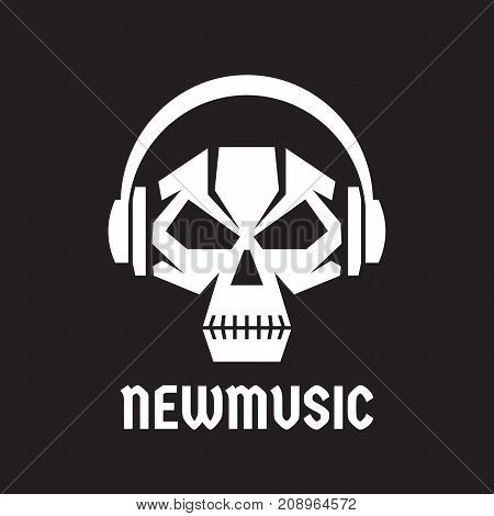 New music - vector logo template concept illustration. Human skull with headphones sign. Death audio sign. Modern sound icon. Design element.