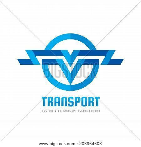Transport - vector logo concept illustration. Abstract stripes in circle shape. Wings sign. Letter V symbol. Logistic icon. Design element.