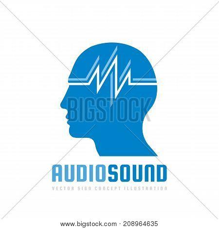 Audio sound - vector logo template concept illustration. Human head creative sign. Design element.