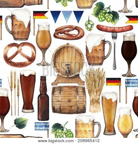 Watercolor glasses of beer, bottle, pretzels, hops, malts and sausages. Hand painted oktoberfest seamless pattern